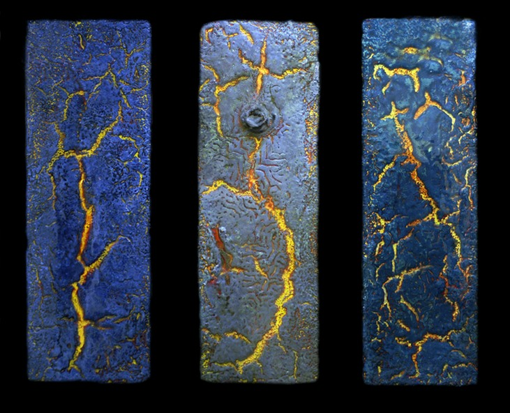 "Drew Wood, Fractured I, II, III, 2006, enamel, acrylic, encaustic, and synthetic resin on canvas, 30""x19""x1"" (tryptch), Carl Swartz Collection"