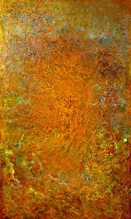"Drew Wood, Magnetar, 2008, oil, color-shifting enamel, acrylic, pumice, and synthetic resin on canvas, 36""x60""x2"", James Prusko Collection"