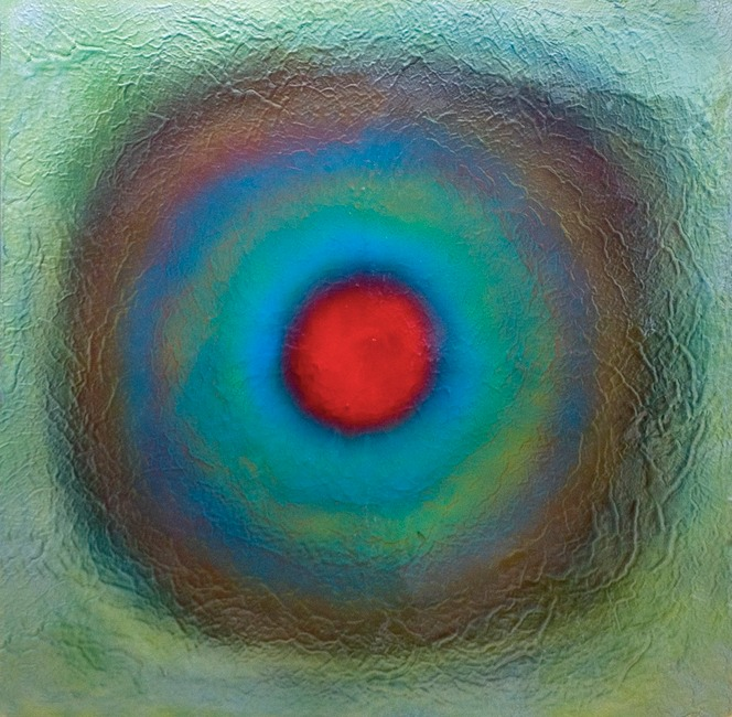 "Drew Wood, Retinal Halo 5, 2011, color-shifting and thermal reactive enamel, acrylic, and synthetic resin on canvas, 48""x48""x1.5"", nfs"