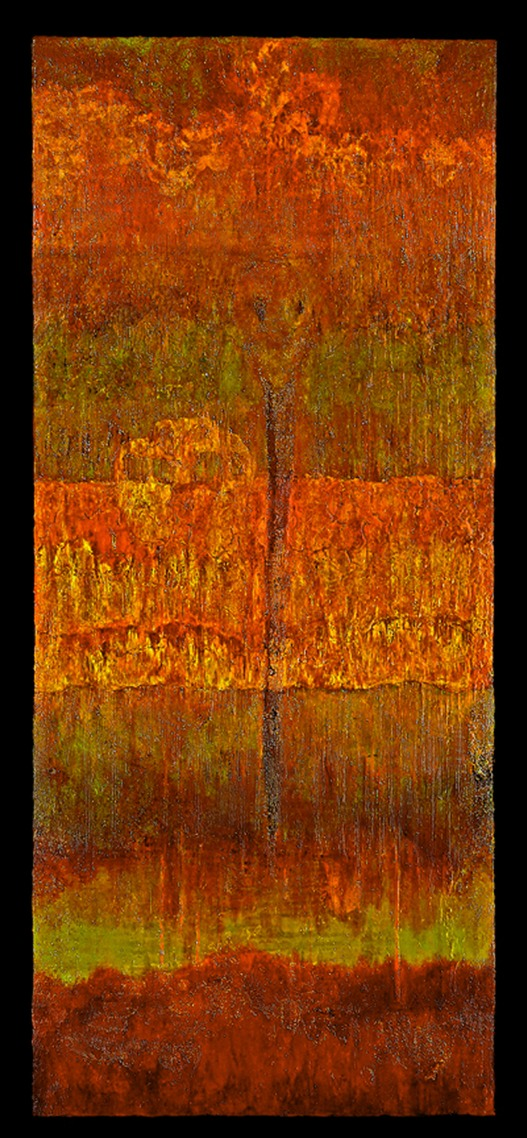 "Drew Wood, Soul Desertion, 2005, acrylic, encaustic, garnet, pumice, and MSA varnish with UVLS (UV light stabilizers) on canvas, 36""x84""x3"""