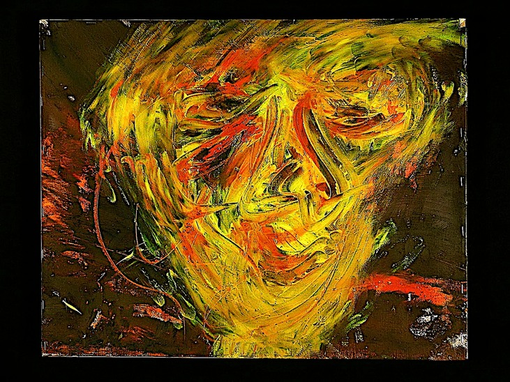 "Drew Wood, State of Madness, 2002, oil on canvas, 16""x20""x1"""